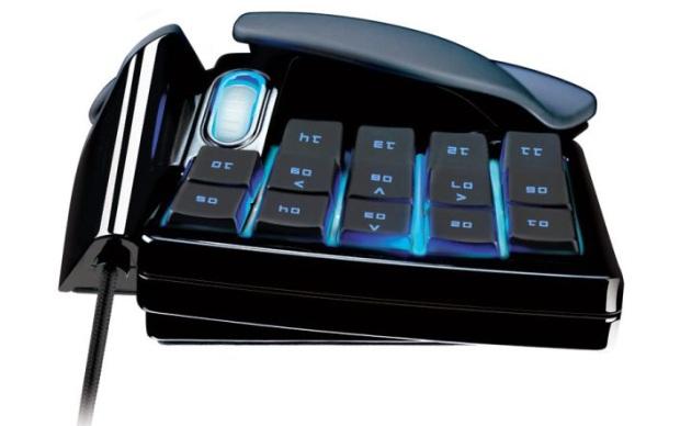 Detalhe da parte de trás do mouse: um teclado para atalhos de jogos