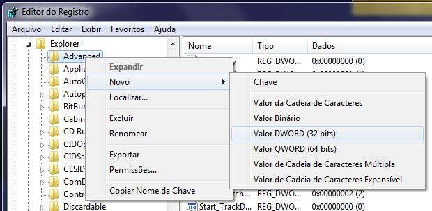 Editor de registro do Windows 7