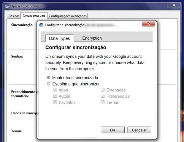Opções do Google Chrome