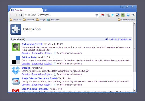 Extensões do Chrome