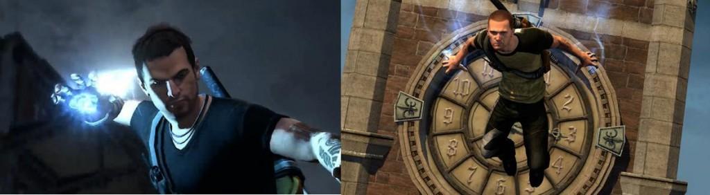 À esquerda, Cole apresentado pela primeira vez em inFAMOUS 2; à direita, Cole reformulado a pedido dos fãs.