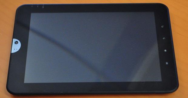 O tablet da Toshiba, ainda sem nome revelado, será apresentado na CES 2011 (Foto: Engadget)