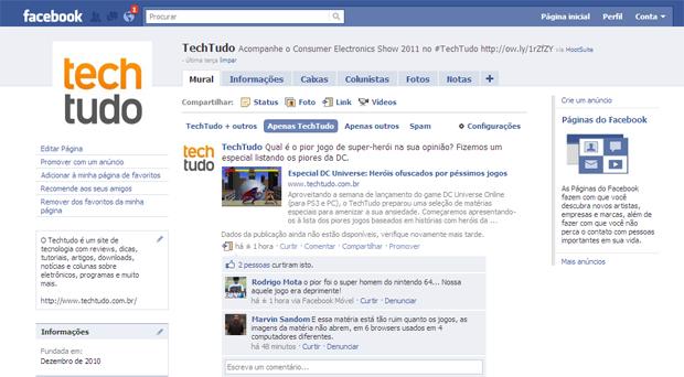 Página do TechTudo no Facebook (Foto: Reprodução)