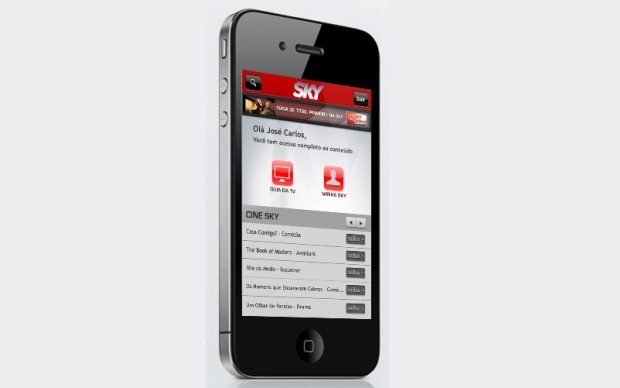 App da operadora Sky, para iPhone, iPod Touch e iPad (Foto: Divulgação)