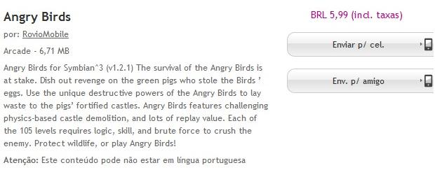 Angry Birds é um dos apps pagos já disponíveis na loja de aplicativos da Nokia (Foto: Reprodução)