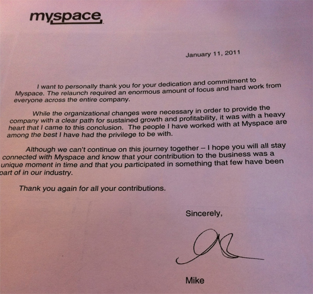 A carta de despedida de Mike Jones, enviada aos funcionários do MySpace (Foto: TechCrunch)