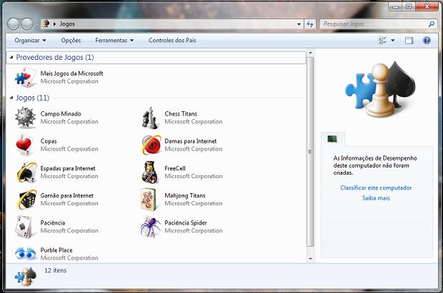 Games no Windows 7 Professional (Foto: Reprodução/Helito Bijora)