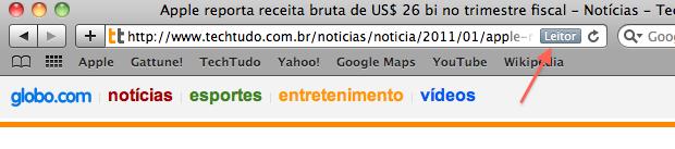 Barra de endereço do navegador Safari (Foto: Reprodução/Calebe Aires)