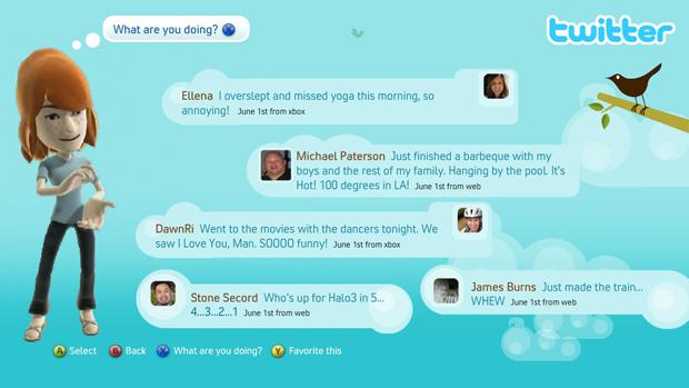 Twitter no Xbox 360 (Foto: Divulgação)