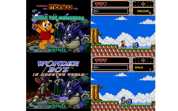 Comparação entre Mônica na Terra dos Monstros e Wonder Boy (Foto: Divulgação)