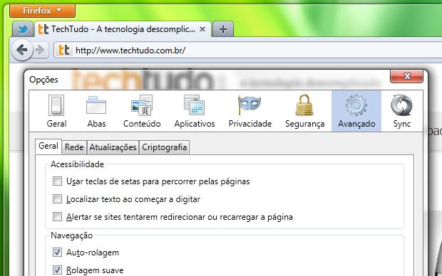 Rolagem suave de páginas no Firefox (Foto: Reprodução/Helito Bijora)