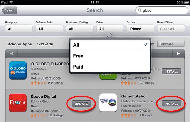 iPad Store com filtros (Foto: Reprodução)