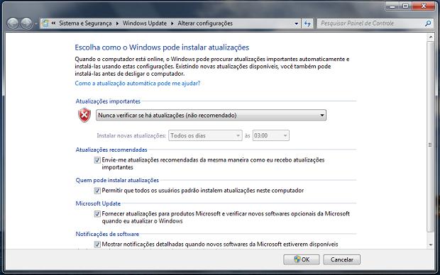 Atualizações automáticas do Windows (Foto: Reprodução/Helito Bijora)