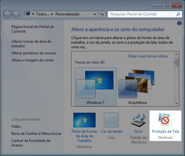 Proteção de tela do Windows 7 (Foto: Reprodução)
