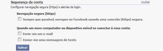 Habilitando a conexão segura no Facebook (Foto: Reprodução/Helito Bijora)