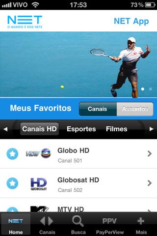 App da NET no iPhone (Foto: Divulgação)