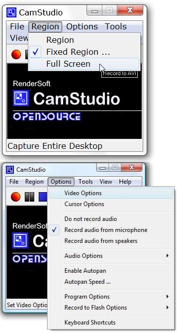 Opções de CamStudio (Foto: Reprodução/TechTudo)
