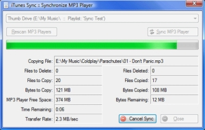 Sincronizando suas músicas do MP3 (Foto: Reprodução/Fernanda Cavalcanti)