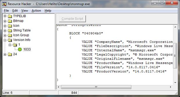 """Modificando a """"version info"""" (Foto: Reprodução/Helito Bijora)"""