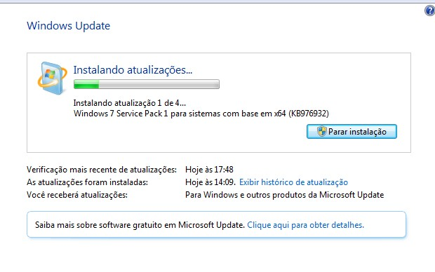 Windows Update SP1 (Foto: Reprodução / Bruno do Amaral)