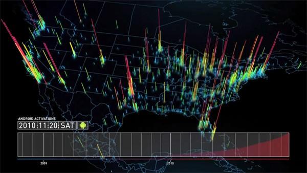 Mapa de usuários de Android no mundo. (Foto: Divulgação)