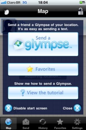 """Clique em """"Send a Glympse"""" (Foto: Reprodução/Fernanda Cavalcanti)"""