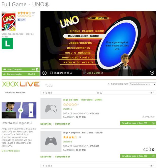 Após escolher o download desejado, clique no botão verde Download para o Xbox 360 (Foto: Reprodução/Bruno Araujo)