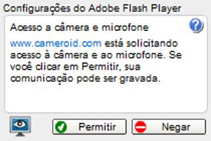 É preciso permitir que o Cameroid acesse sua webcam para conseguir utilizar o serviço (Foto: Reprodução/Bruno Araujo)