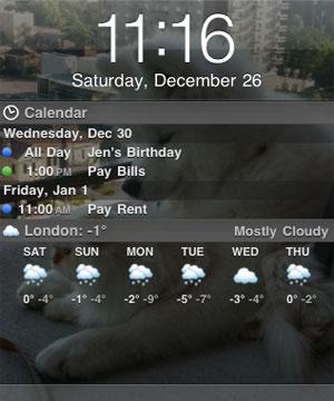 Você pode ter até a previsão do tempo na Lockscreen! (Foto: Reprodução/iClarified)