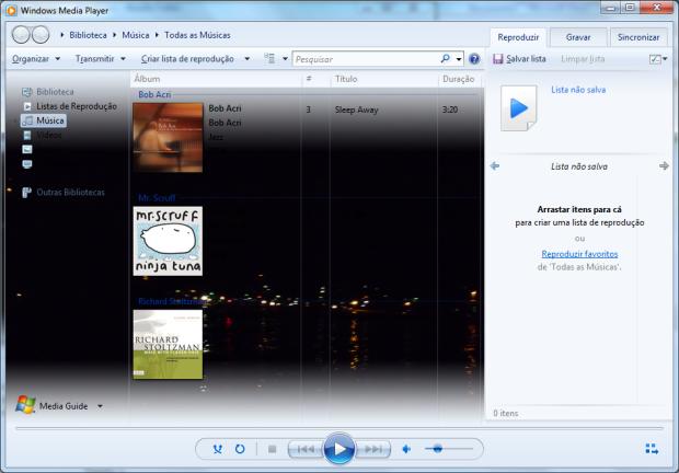 Windows Media Player 12 com imagem de fundo alterada (Foto: Reprodução/Emerson Alecrim)