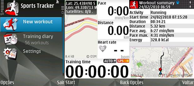 Telas do Sports Tracker (Foto: Reprodução/Gustavo Ribeiro)