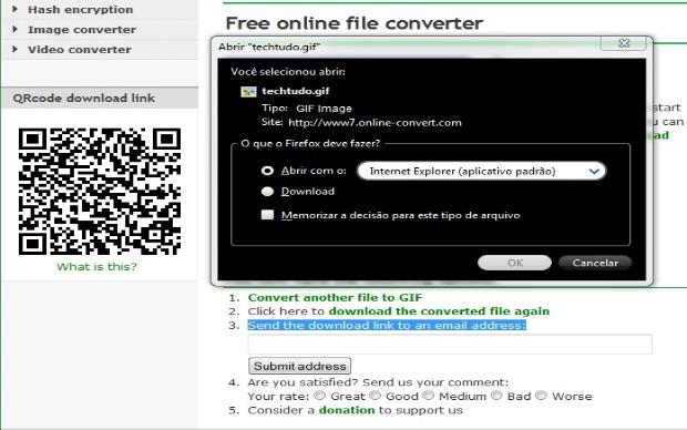 Sistema oferece três opções para o download (Foto: Reprodução/Fox Xavier)