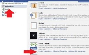 """Em sua página no Facebook, selecione o FBML em """"Aplicativos"""" (Foto: Reprodução/Katia Resende)"""