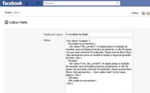 Cole o código no aplicativo FBML Estático (Foto: Reprodução/Katia Resende)