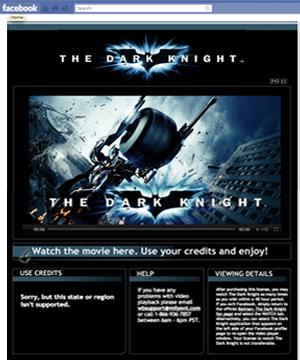 Aluguel de filme da Warner Bros no Facebook (Foto: Reprodução)