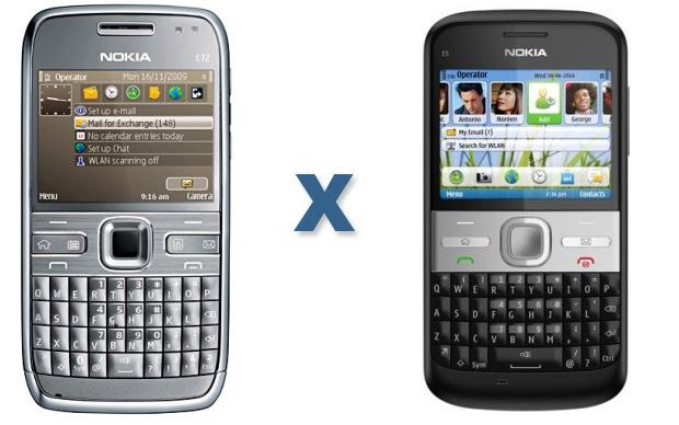 Comparação entre o Nokia E5 e E72 (Foto: Divulgação)