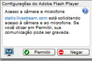 Adobe Flash Player poderá pedir sua autorização antes de iniciar a Twitcam (Foto: Reprodução)