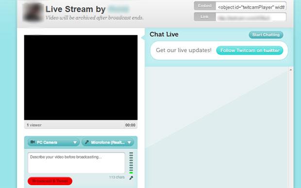 Com tudo pronto, basta clicar no botão vermelho para iniciar a sua Twitcam (Foto: Reprodução)