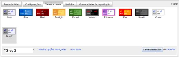 Temas e cores padrões do seu canal do Youtube