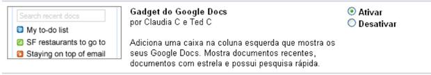 Ativando o Google Docs no Gmail (Foto: Reprodução/Teresa Furtado)