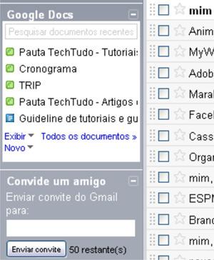 Gadget do Google Docs no Gmail (Foto: Reprodução/Teresa Furtado)