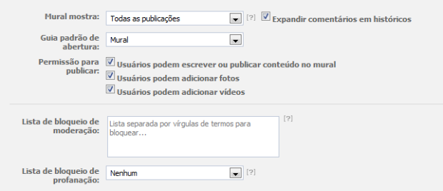 Auto moderação de fanpages (Foto: Reprodução/Camila Porto)