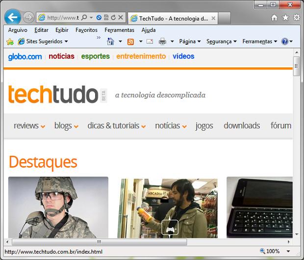 IE9 com menu clássico (Foto: Reprodução/Helito Bijora)