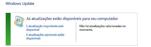 """Clique em """"atualizações importantes disponíveis"""" para buscar o SP1 (Foto: Reprodução)"""