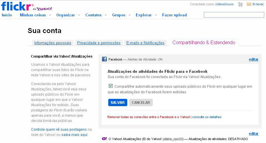 Integrando o Flickr com o Facebook (Foto: Reprodução/TechTudo)