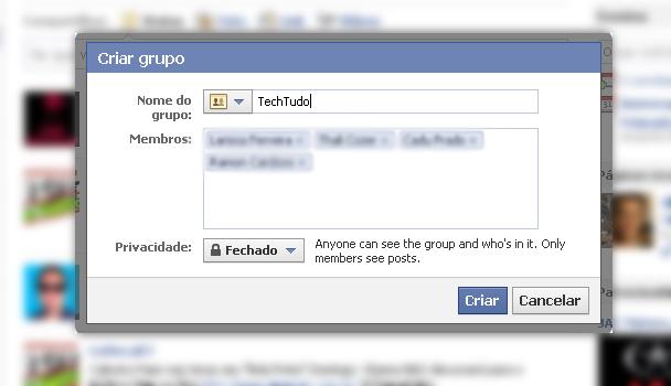 Opções do grupo (Foto: Reprodução/TechTudo)