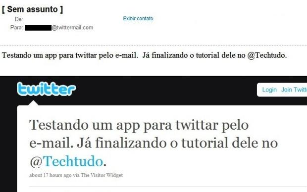 Exemplo de e-mail enviado e publicado pelo aplicativo no Twitter (Foto: Reprodução/Fox Xavier)