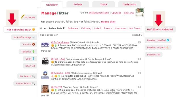 No Manage Flitter, fica mais fácil saber quem não tá te seguindo de volta (Foto: Reprodução/Fabrício Janssen)