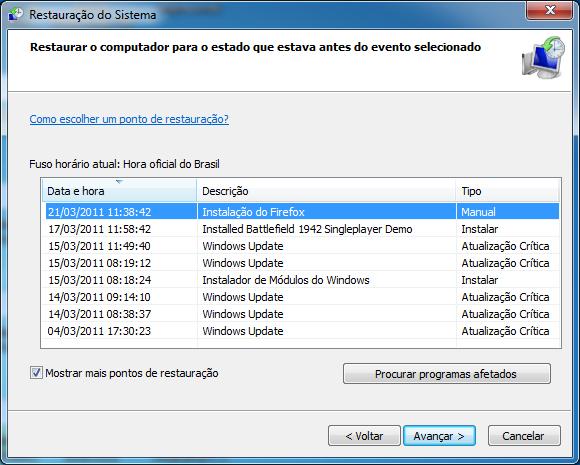 Ponto de restauração do Windows (Foto: Reprodução/TechTudo)