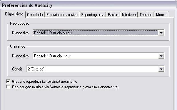 Preferências do Audacity (Foto: Reprodução/Gustavo Ribeiro)